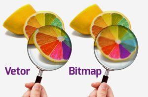 com duas lupas é demostrada com detalhes a diferença entre vetor e imagem